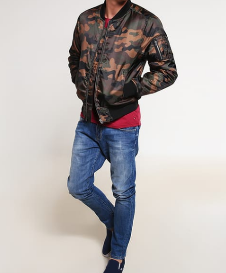 Outfit: Casual Style Camouflage Bomberjacke